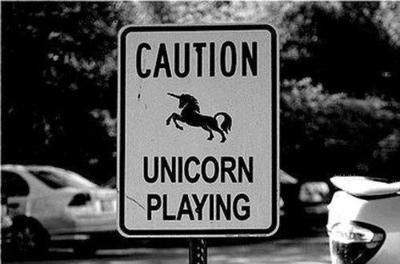 CAUTION: UNICORN PLAYING SIGN. The only thing that could make this more perfect is if it was in color...when you think unicorn you think rainbow...not b&w. <3 - Lane