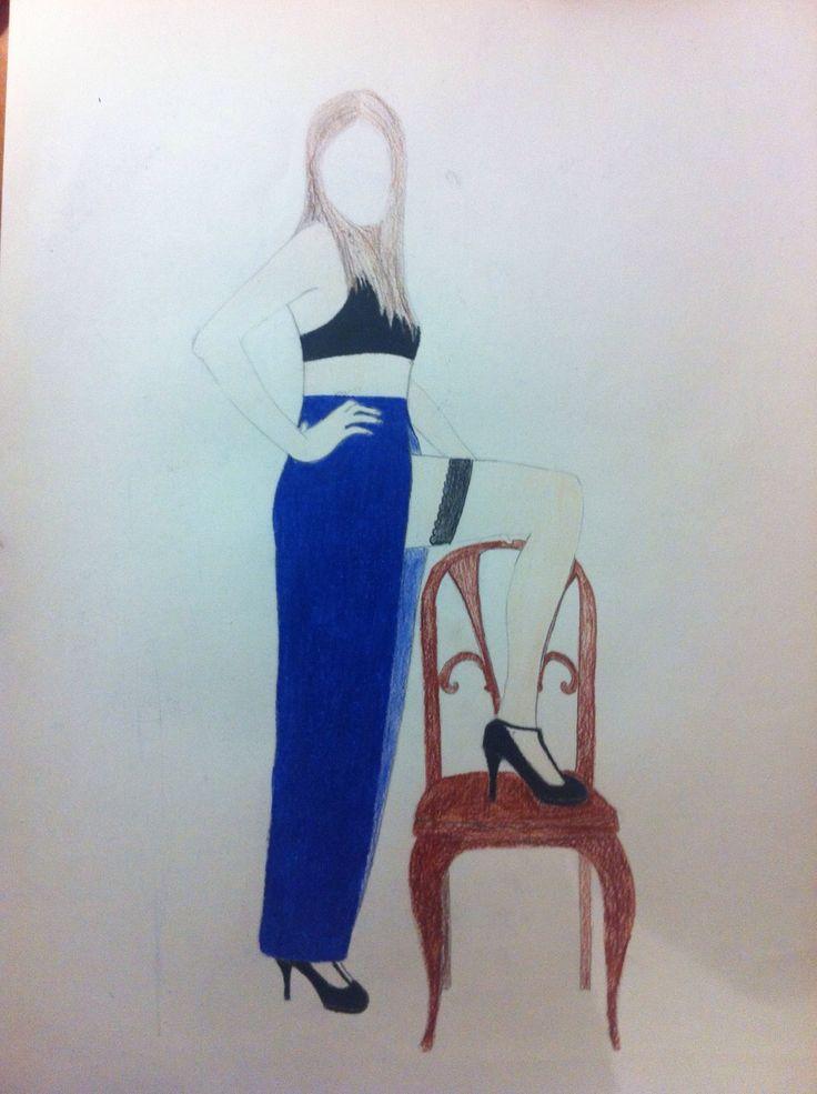 Modelo dibujada con lápiz 2h pintada con lápices faber castel medios.