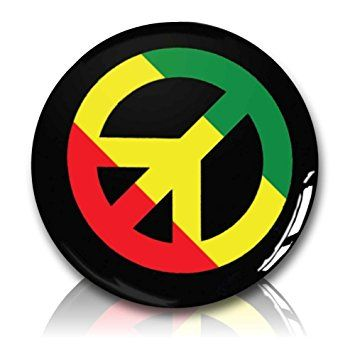 "Custom & Novelty {1"" Inch} 1 Single Piece, Small Size Button Pin-Back Badge for Unique Clothing Accents, Made of Rust-Proof Metal w/ Rasta Campaign For Nuclear Disarmament Peace Sign Symbol Style [Green, Yellow, Red, & Black]"