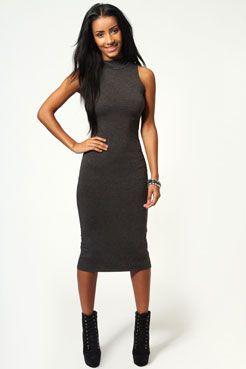 Billie High Neck Sleeveless Midi Bodycon Dress