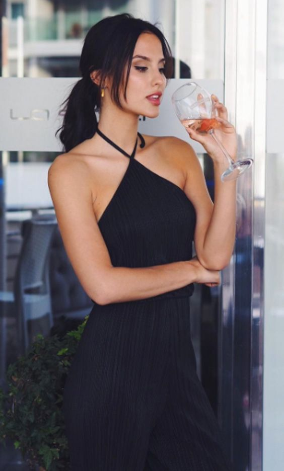 Made in Chelsea hottie Lucy Watson wearing the SilkFred 'Pleated Halterneck Wide Leg Jumpsuit'.....celebrity, MIC,outfit, formal
