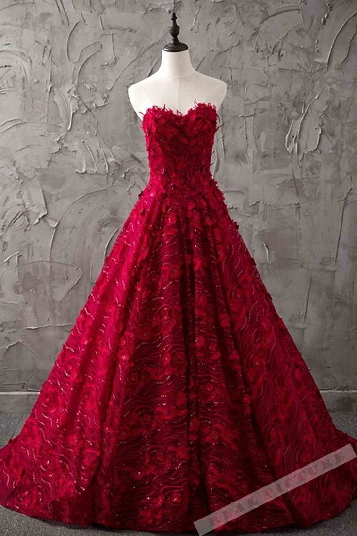 Red lace prom dress, sweetheart prom dress, long prom dress for teens