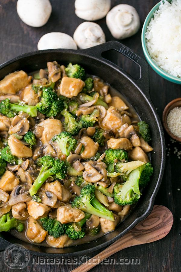 chicken broccoli and mushroom stir fry- this recipe claims it's better than take-out. YUM!