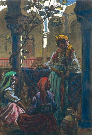 Peinture Algérie - Détente féminine à Alger par Edouard Herzig