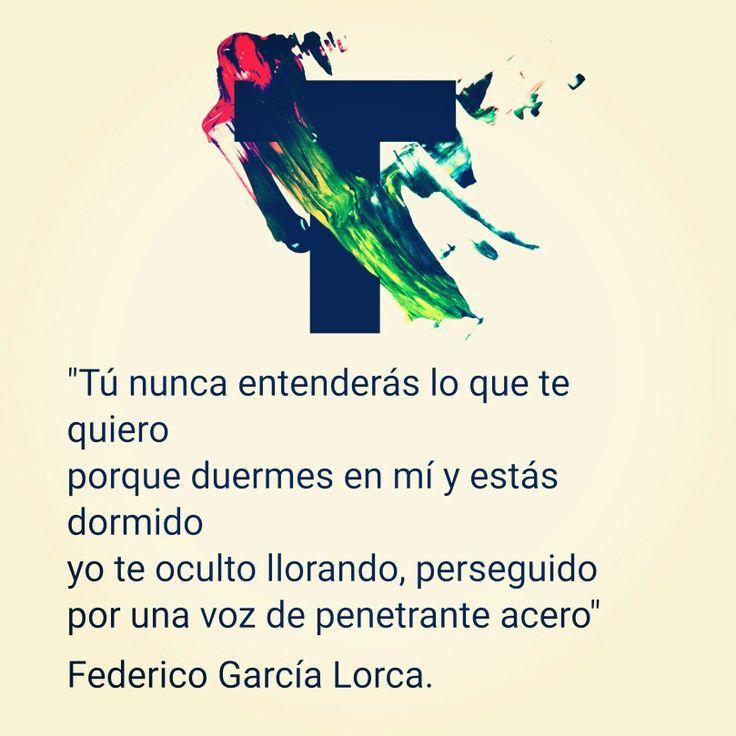 """""""Tú nunca entenderás lo que te quiero porque duermes en mí y estás dormido yo te oculto llorando, perseguido por una voz de penetrante acero""""  Inicio del poema """"El Amor duerme en el pecho del poeta"""" Sonetos del Amor Oscuro. Federico García Lorca.  LIBERTAD PARA AMAR #OrgulloLGTB2016"""
