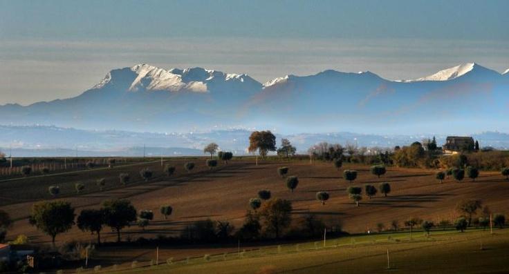Meraviglioso panorama sui Monti Sibillini innevati. Foto by pearl