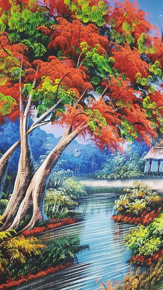 Flamboyant Tree Painting Dominican Art Oil Painting Etsy Landscape Paintings Oil Painting Landscape Tree Painting