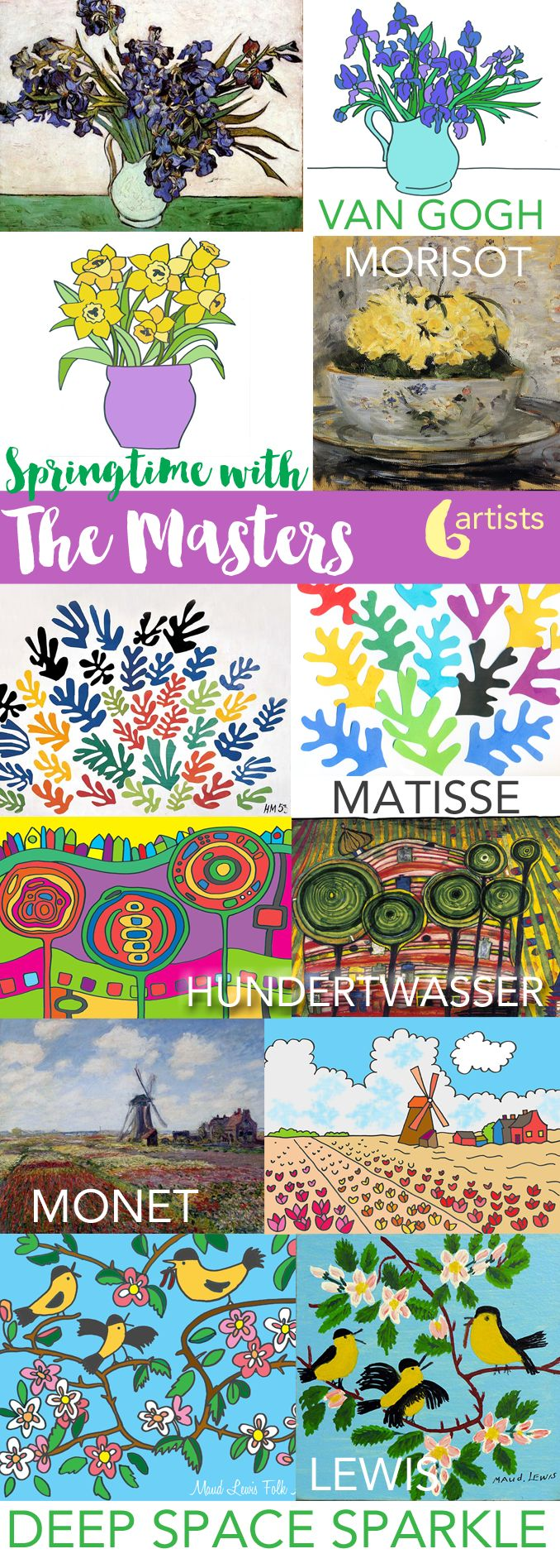 Springtime with the Masters Art Lesson Packet (Deep Space Sparkle)