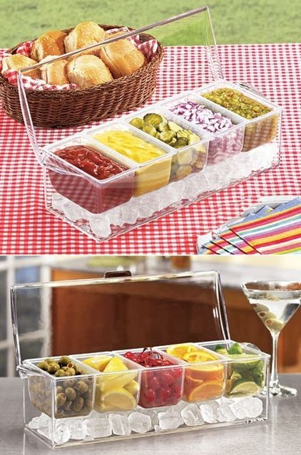contemporary serveware by Harriet Carter. Love that u can put ice underneath and keep it all fresh!