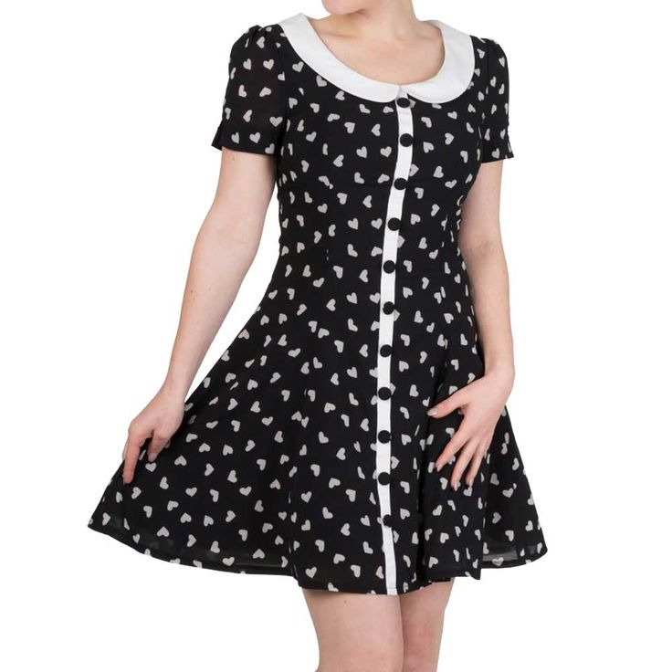 Set Sail jurk met kraag en harten print zwart/wit - Vintage Retro Rockabilly - XS - Dancing Days