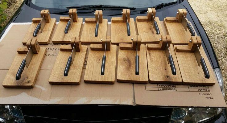 Solid oak biltong cutters