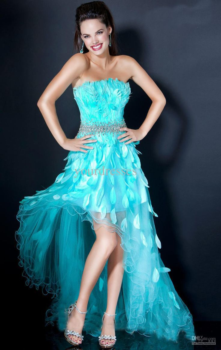 Buy cheap Custom Made New Arrival Hunter Feathered Beads High Low Prom Dresses Women Dance Dresses Organza with $143.36-151.2/Piece|DHgate