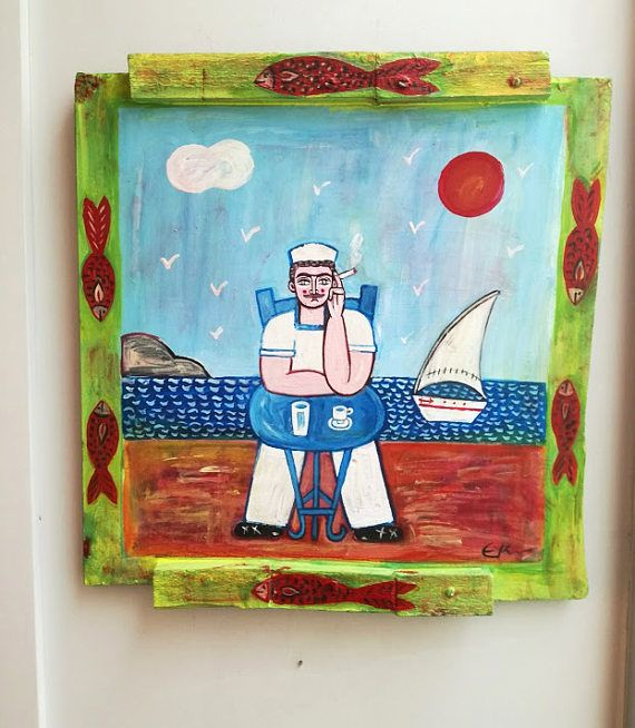 Vintage folk painting of sailor sitting at cafe vintage Greek