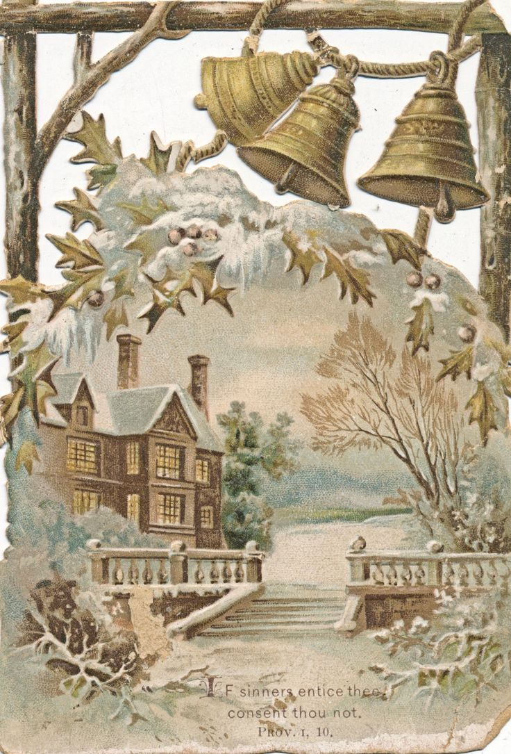 C1890 Victorian Card Delicate Bells Snowy Scene