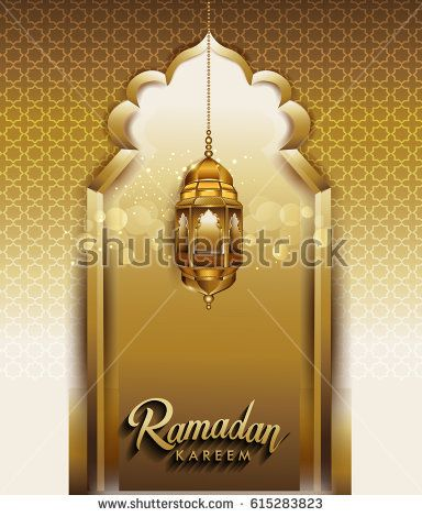 Vector illustration of Ramadan Kareem arabic lamp for greeting card background, with typographic lettering ''Ramadan kareem'' of muslim holy month with mosque window and sparkles.