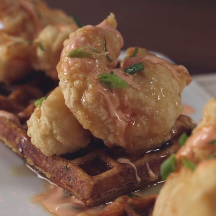 Chicken and waffles are so old news. Get your iron out for this fried shrimp and creole-seasoned waffle combo instead.