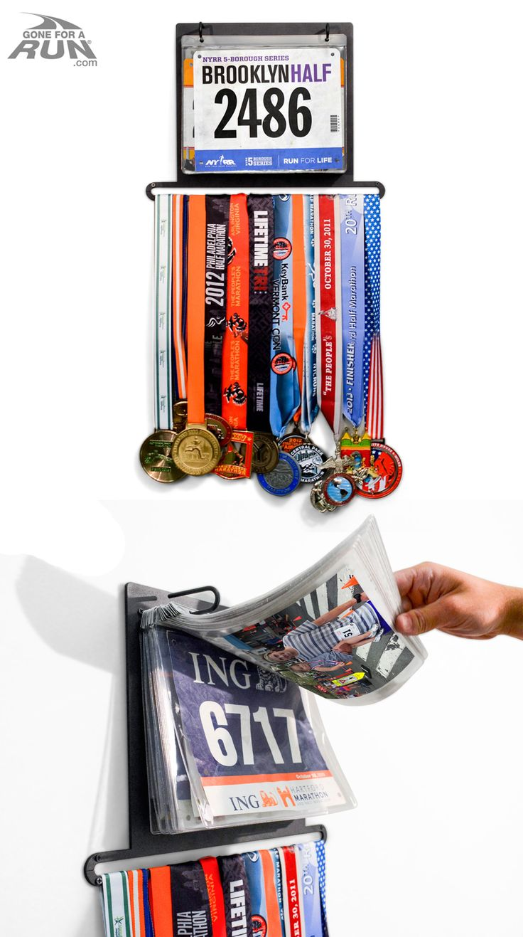 Have too many medals to count? Lost track of the number of medals you have hanging in your closet? Our BibFOLIO Plus is the perfect way to organize your race memories into a fun organized display! Hang both medals and bibs to show your true love of the run!