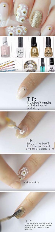 Sigue este paso a paso para lograr esta decoración de uñas de Marc Jacobs inspirada en las margaritas. Instrucciones y video en el sitio!!