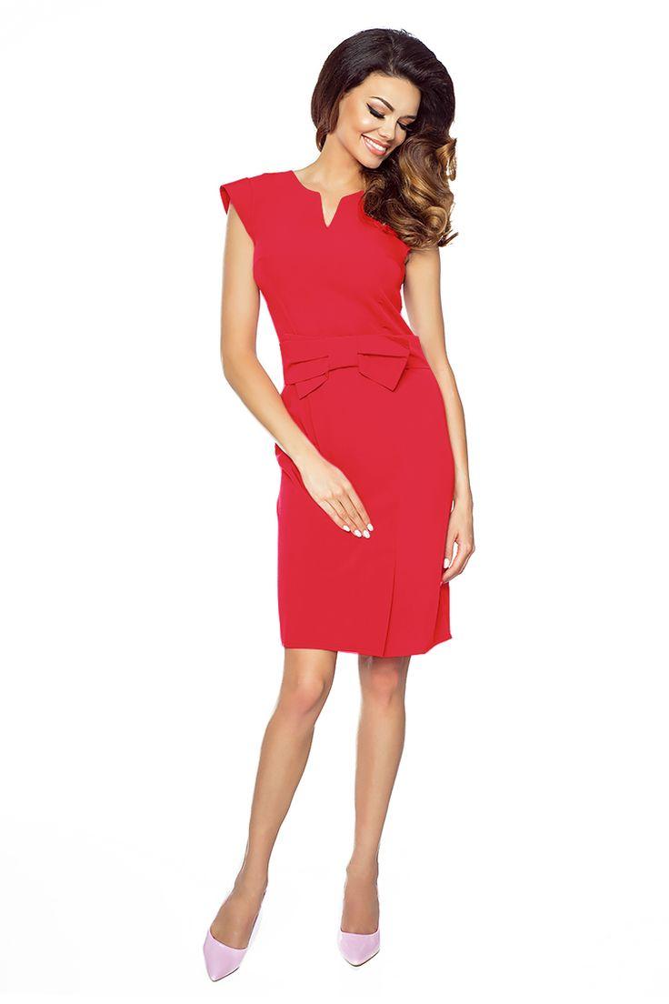 Czerwona elegancka sukienka z kokardką