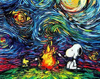 Snoopy Art Peanuts Cartoon Starry Night by SagittariusGallery