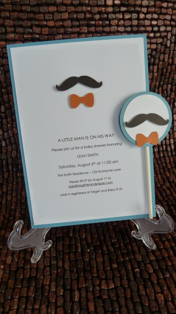 mustache and bow tie baby shower invitation baby shower mustache