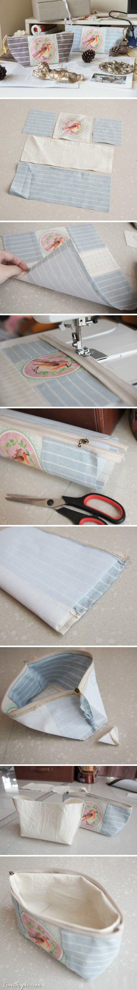 DIY Zipper Bag diy sew craft ……re pinned by Maurie Daboux ❤╰☆╮