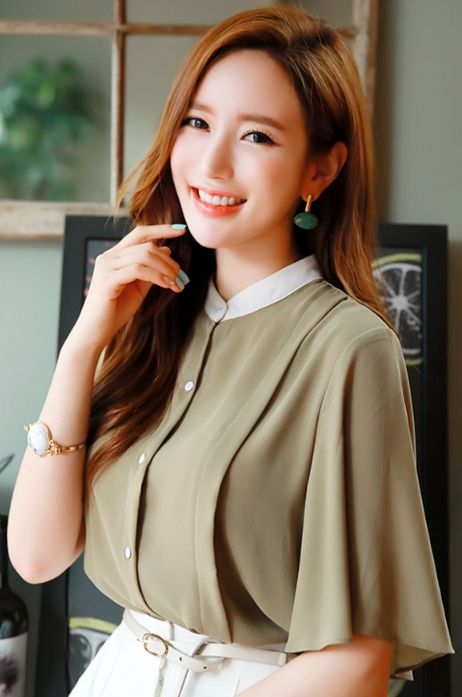 StyleOnme_Flared Sleeve Button-Up Blouse #olive #green #blouse #elegant #workwear #officelook #koreanfashion #kstyle #kfashion #seoul