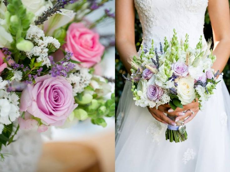 Rustic hand tied bouquet of Ocean song roses, white avalanche roses, snapdragons and lavender. Thanks to Lisa Rieken Photography