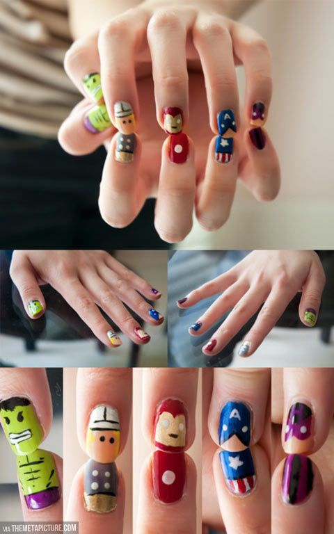 Gorgeously geeky nail art… Superhero nails So cute I love them I'm definitely going to try these sometime.
