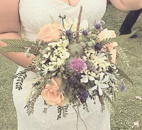 wedding flowerpotts.co.nz bouquet thistle peach roses