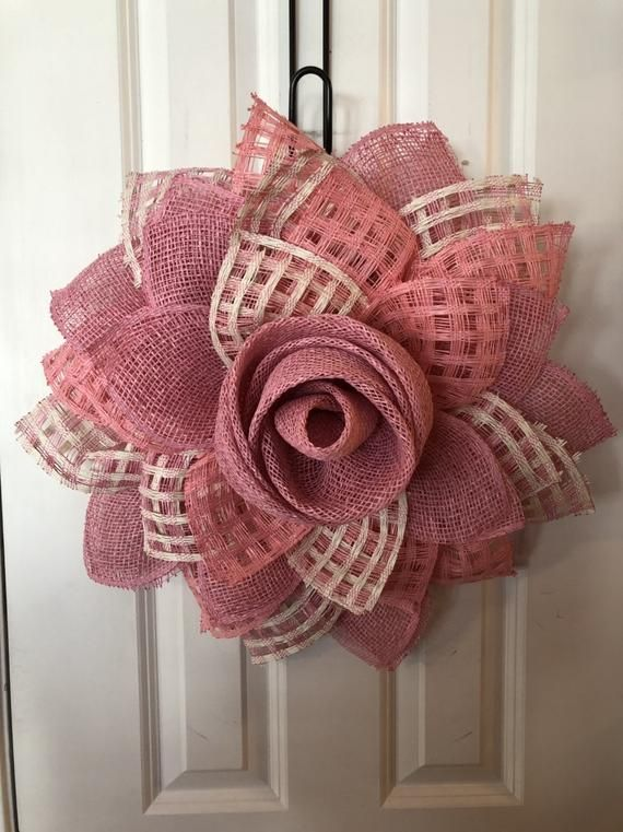 Pink Poly Burlap Flowers Everyday Wreath Mother S Day