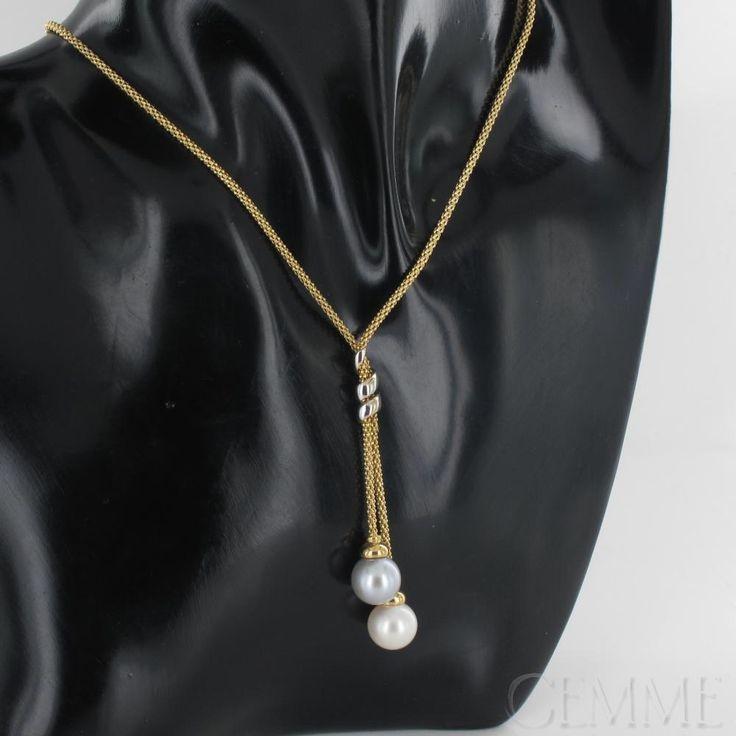 Collier Cravate 2 Ors Maille Fantaisie, Perles de Culture