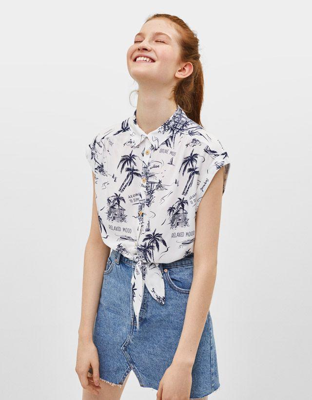 c3bfc7eae Blusas y camisas de mujer - Primavera Verano 2019 | Bershka | Blusas ...