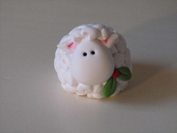 Polymer Clay Christmas Lamb Figure. $8.50, via Etsy.