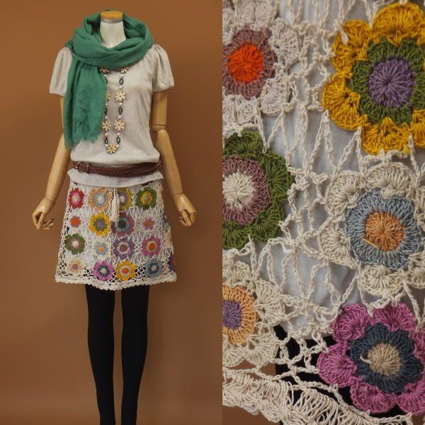 crochet flower motif skirt