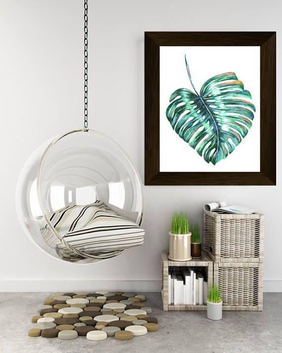 monstera leaf palm leaf print tropical wall art botanical