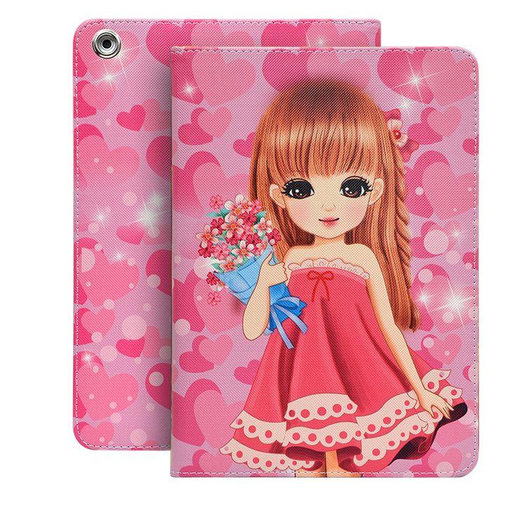 Cute Cartoon Baby Girls Case for Funda iPad Mini 2 Fashion Color Printed PU Leather Protective Shell for iPad Mini 1/2/3 Case