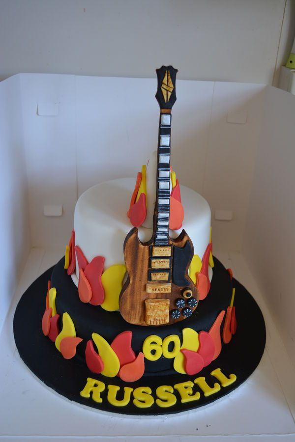 Rock N Roll Themed Flames Guitar Cake In 2020 Guitar
