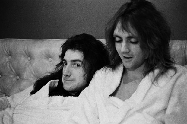 John Deacon and Roger Taylor backstage in dressing gowns. Photograph: Queen Archive/Virgin
