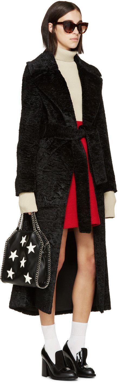 MSGM Black Faux-Astrakhan Coat