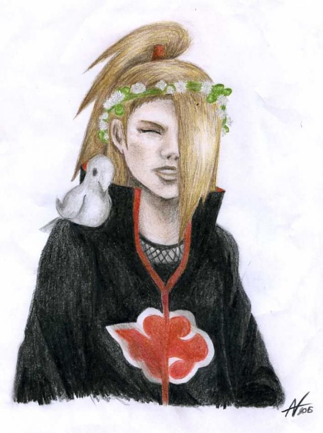 Deidara with flowers in his hair... aww... :3 (drawed by me)