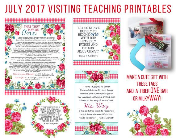 July 2017 Visiting Teaching Printables and Gift Ideas #handouts #lds #mormon https://www.etsy.com/listing/497554592/july-2017-visiting-teaching-message