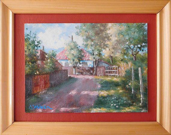 Evening in Naeni original framed oil painting