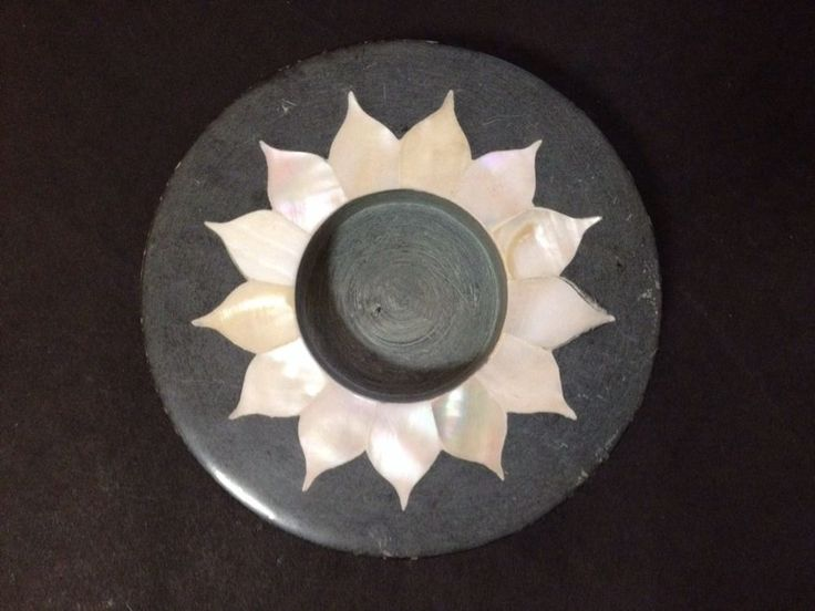Estate Find - Vintage? Stone and Shell Candle Holder - Oxfam - Made in India