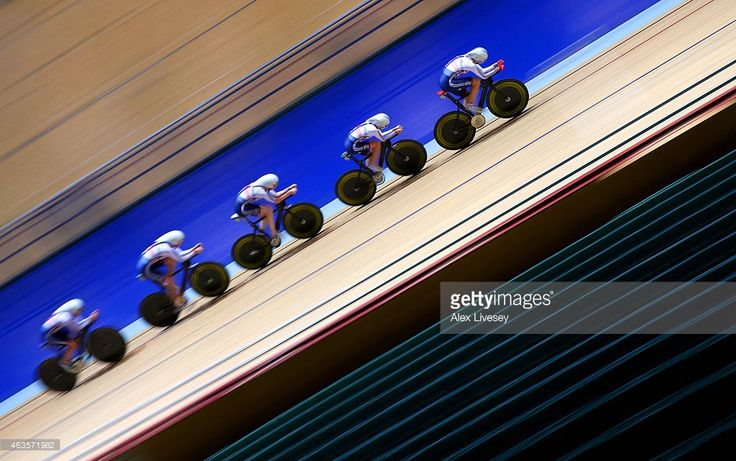 The Team GB women's endurance team of Laura Trott, Joanna Rowsell, Elinor Barker, Katie Archibald and Ciara Horne train during a Team GB Cycling Media Day at the National Cycling Centre on February 9, 2015 in Manchester, England.