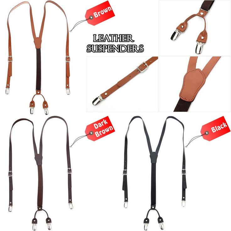 Mens Womens Leather Suspenders Adjustable Elastic Fashion Style Clip-On Braces #followthehappiness