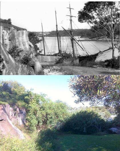 A ship tied up to the wharf at Bedlam Point on the Parramatta River, Gladesville c1890 > 2016 [Powerhouse Museum > Les de Belin. By Les de Belin]