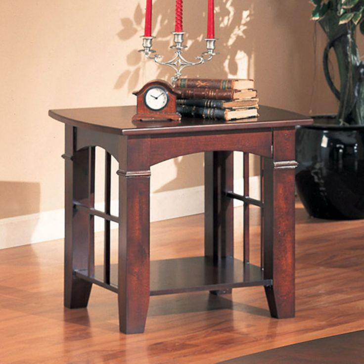 Coaster Furniture Wood End Table with Shelf - Cherry - 700007