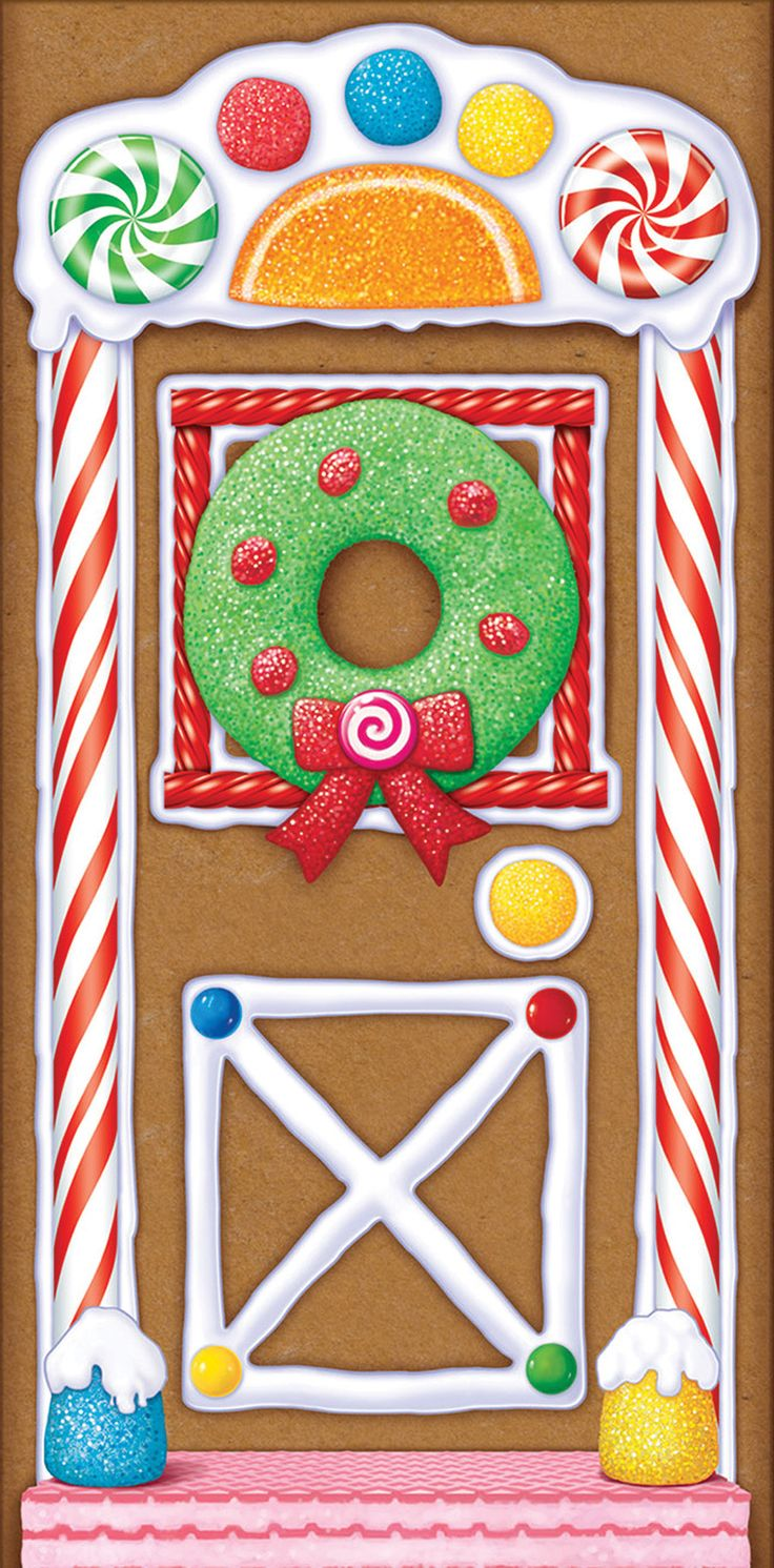 Colorful candy and frosting gingerbread image will be a sweet greeting for your visitors! 30 X 60 inch polyethylene sheet covers most standard sized doors. For indoor or outdoor use.