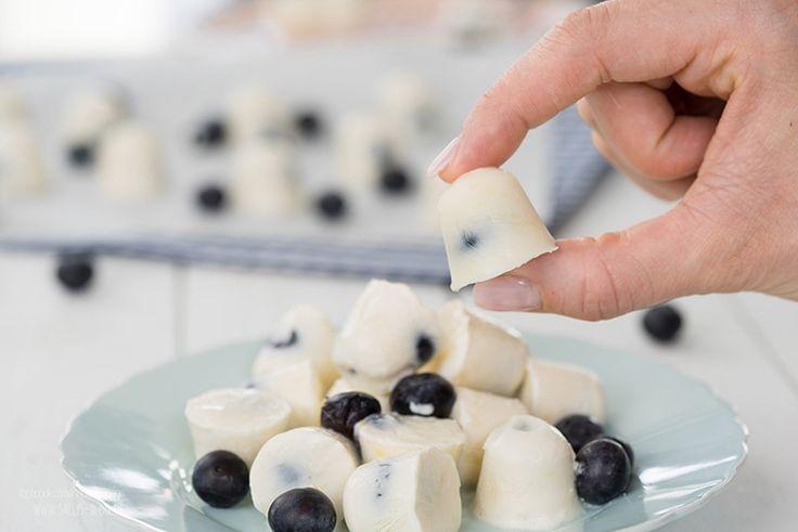 5 Min Yogurt Blueberry Bites / Joghurt-Blaubeer Eis-Häppchen / Fingerfood